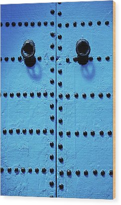 Blue Moroccan Door Wood Print by Kelly Cheng Travel Photography
