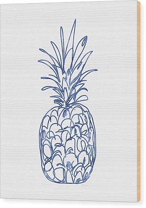 Blue Pineapple- Art By Linda Woods Wood Print by Linda Woods
