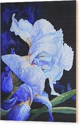 Blue Summer Iris Wood Print by Hanne Lore Koehler