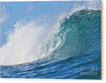 Blue Tube Wave Wood Print by Paul Topp