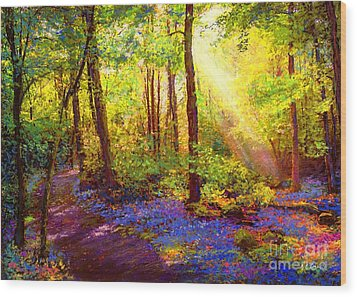 Bluebell Blessing Wood Print by Jane Small