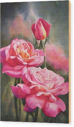 Blushing Roses With Bud Wood Print by Sharon Freeman