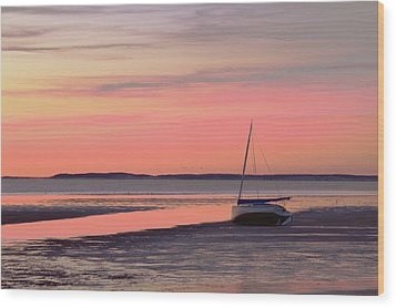 Boat In Cape Cod Bay At Sunrise Wood Print by Gemma