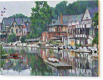 Boathouse Row In Philadelphia Wood Print by Bill Cannon