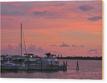 Boats At Sunset Wood Print by Rose  Hill