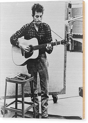 Bob Dylan B. 1941 Playing Guitar Wood Print by Everett