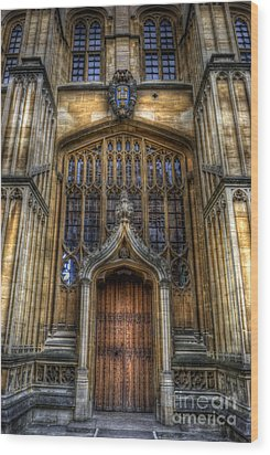 Bodleian Library Door - Oxford Wood Print by Yhun Suarez