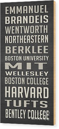 Boston Colleges Poster Wood Print by Edward Fielding
