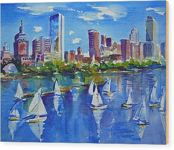 Boston Skyline Wood Print by Diane Bell