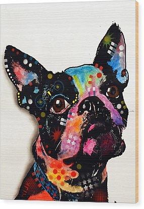 Boston Terrier II Wood Print by Dean Russo