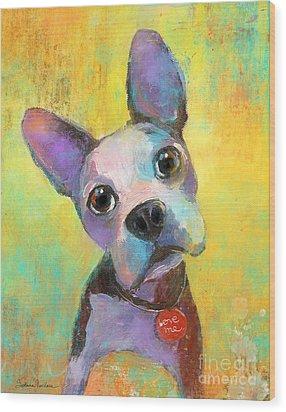 Boston Terrier Puppy Dog Painting Print Wood Print by Svetlana Novikova