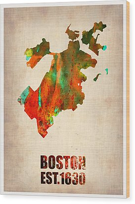 Boston Watercolor Map  Wood Print by Naxart Studio