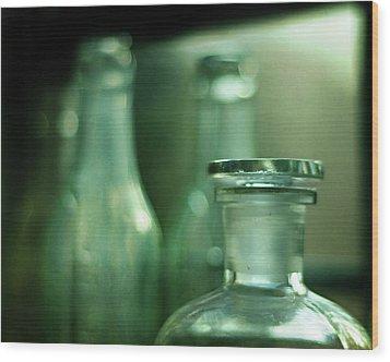 Bottles In The Window Wood Print by Rebecca Sherman