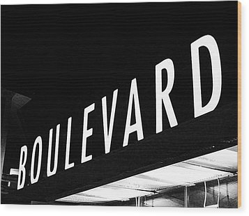 Boulevard Lights Up The Night Wood Print by Angie Rayfield