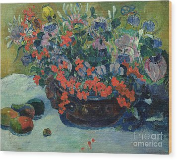 Bouquet Of Flowers Wood Print by Paul Gauguin
