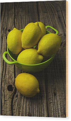 Bowl Of Lemons Wood Print by Garry Gay