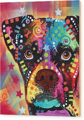 Boxer Cubism Wood Print by Dean Russo