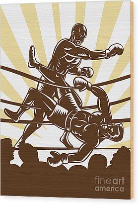 Boxer Knocking Out Wood Print by Aloysius Patrimonio