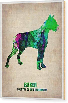 Boxer Poster Wood Print by Naxart Studio