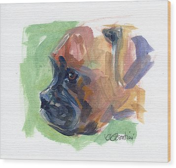 Boxer Pup Wood Print by Kimberly Santini