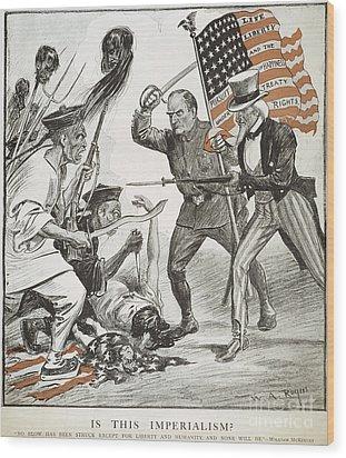 Boxer Rebellion Cartoon Wood Print by Granger