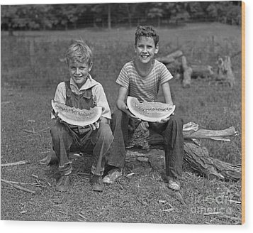 Boys Eating Watermelons, C.1940s Wood Print by H. Armstrong Roberts/ClassicStock