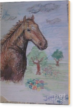 Brandy The Horse Wood Print by Jamey Balester