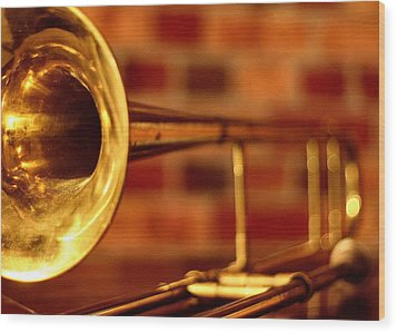 Brass Trombone Wood Print by David  Hubbs