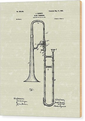 Brass Trombone Musical Instrument 1902 Patent Wood Print by Prior Art Design