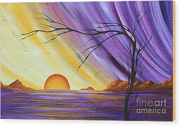 Brilliant Purple Golden Yellow Huge Abstract Surreal Tree Ocean Painting Royal Sunset By Madart Wood Print by Megan Duncanson