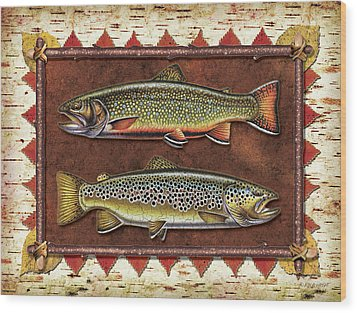 Brook And Brown Trout Lodge Wood Print by JQ Licensing