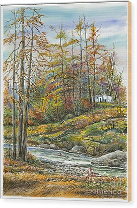 Brook In Autumn Wood Print by Samuel Showman