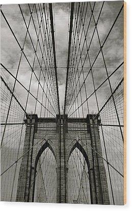 Brooklyn Bridge Wood Print by Adrian Hopkins
