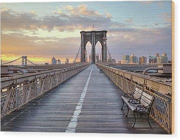 Brooklyn Bridge At Sunrise Wood Print by Anne Strickland Fine Art Photography