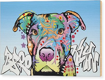 Brooklyn Pit Bull 2 Wood Print by Dean Russo