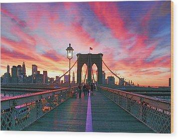 Brooklyn Sunset Wood Print by Rick Berk