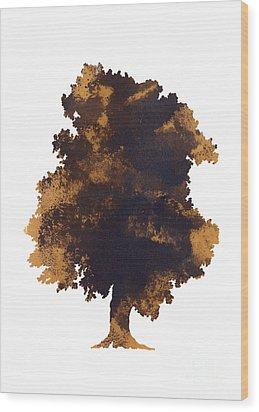 Brown Oak Minimalist Painting Wood Print by Joanna Szmerdt