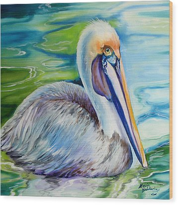 Brown Pelican Of Louisiana Wood Print by Marcia Baldwin