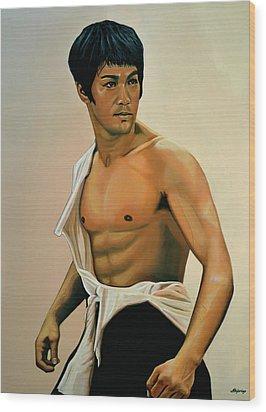 Bruce Lee Painting Wood Print by Paul Meijering