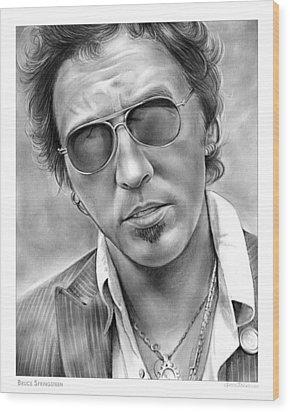Bruce Springsteen Wood Print by Greg Joens