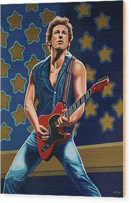 Bruce Springsteen The Boss Painting Wood Print by Paul Meijering
