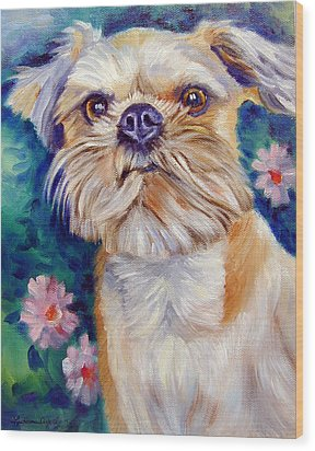 Brussels Griffon Wood Print by Lyn Cook