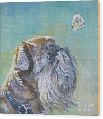 Brussels Griffon With Butterfly Wood Print by Lee Ann Shepard