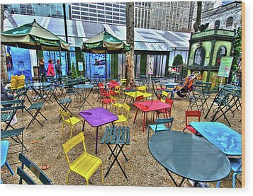 Bryant Park In Vivid Color Wood Print by Laura Bode