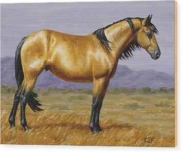 Buckskin Mustang Stallion Wood Print by Crista Forest
