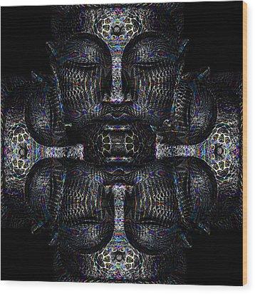 Buddhas Psylence Wood Print by Shiva Designz