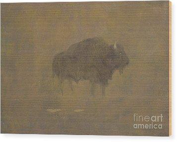 Buffalo In A Sandstorm Wood Print by Albert Bierstadt