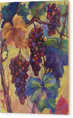 Burgundy Grapes Wood Print by Peggy Wilson