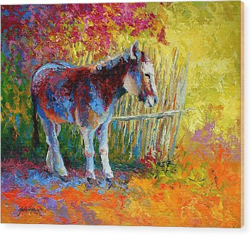 Burro And Bouganvillia Wood Print by Marion Rose