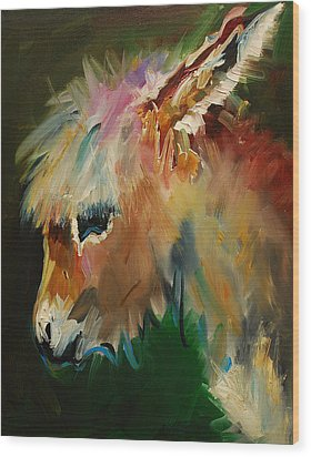 Burro Donkey Wood Print by Diane Whitehead